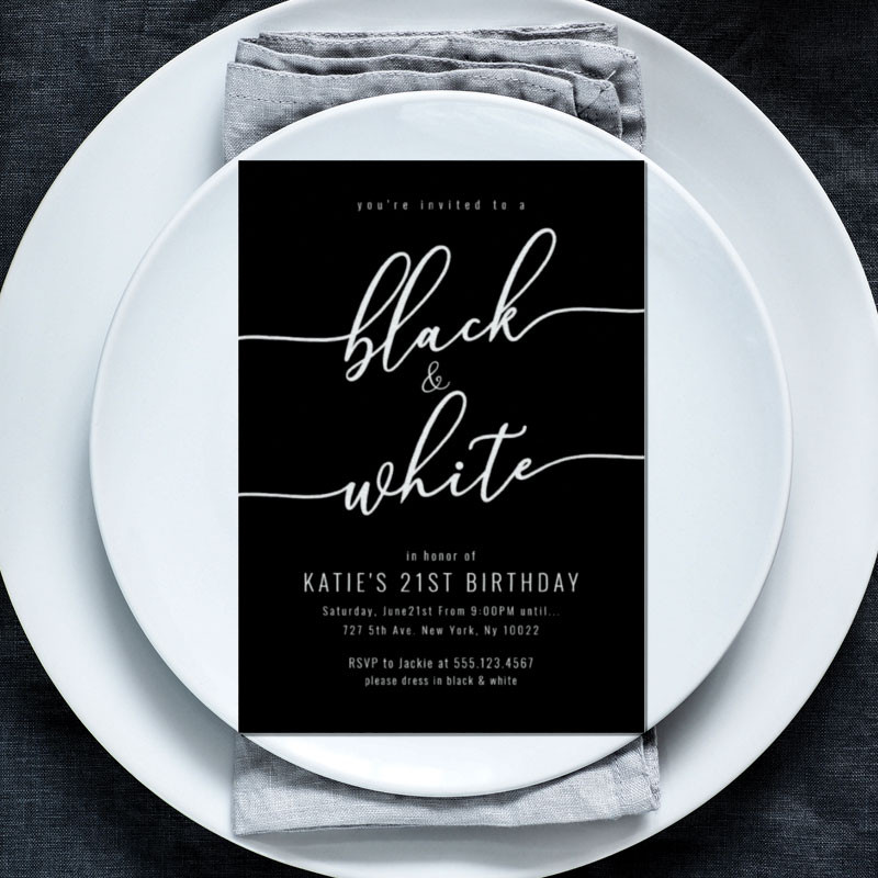 Elegant Black and white party invitations