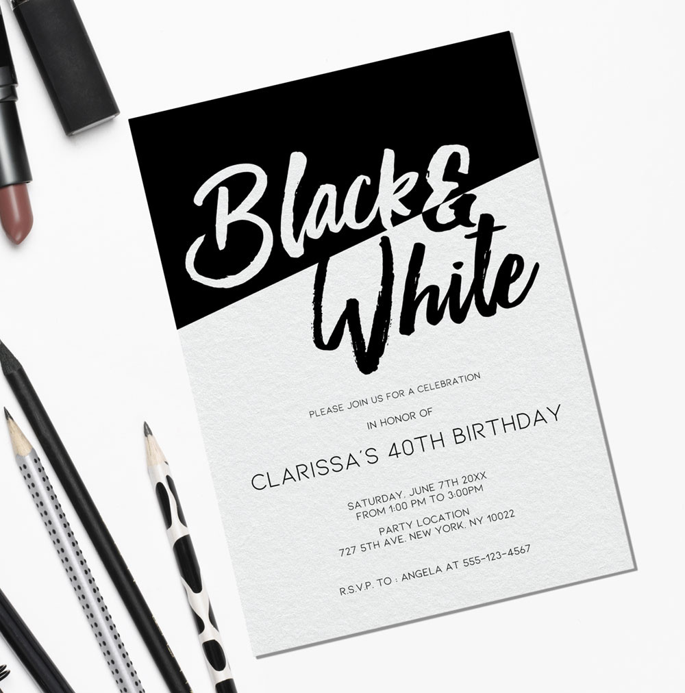 Casual Black and white themed invites