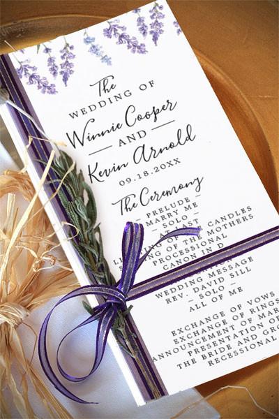 Lavender Floral Wedding Program