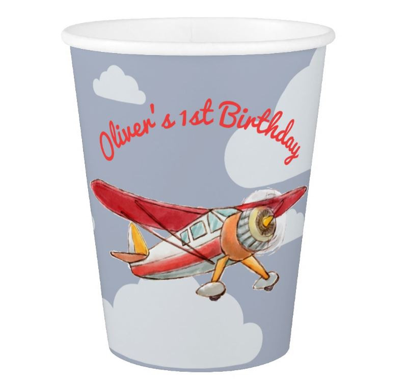 custom paper cups, party cups, vintage airplane
