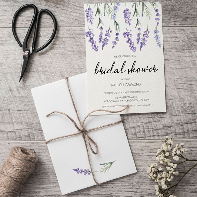 Country Lavender Bridal Shower Invitations