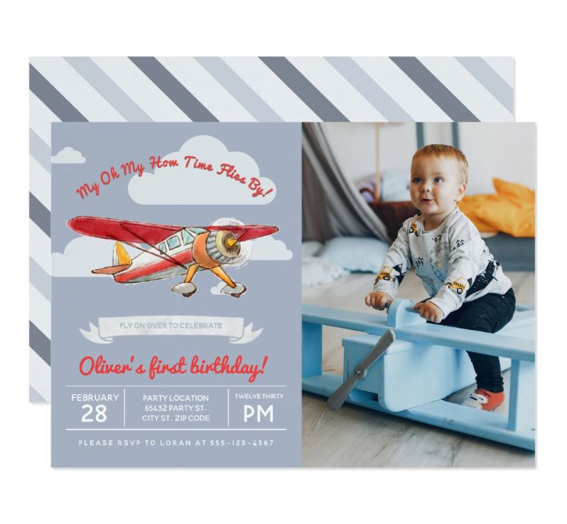 Photo Invitations, Party Invitations, Airplane Birthday