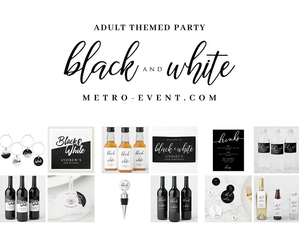 Black and White themed party decor
