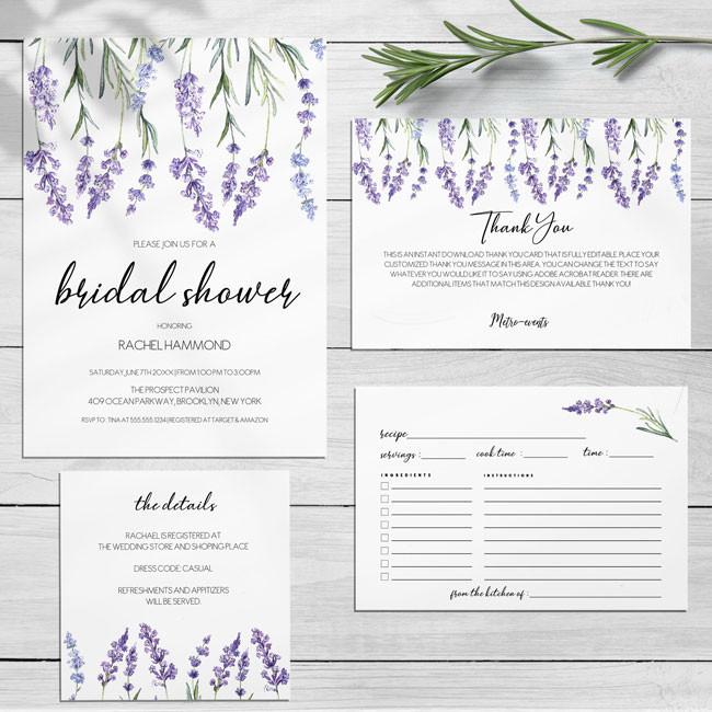 Lavender Floral Bridal Shower Invitations Set