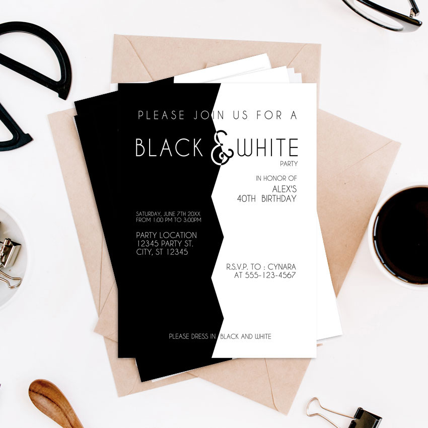 Modern Black and white Party Invites