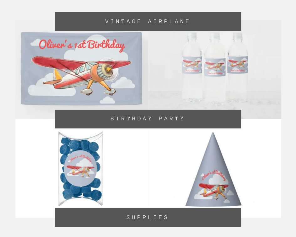 Party hats, birthday banners, water bottle labels