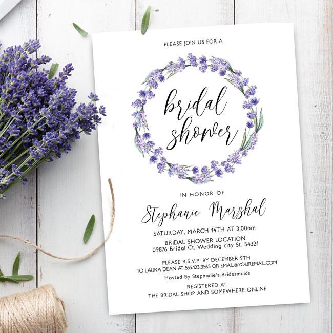 Lavender Wreath Bridal Shower Invites