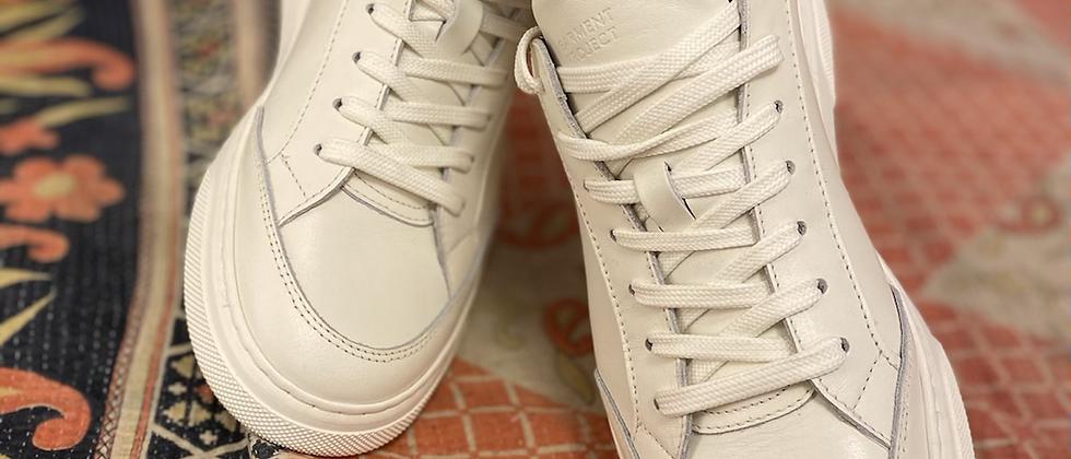 Sneakers crème kleur leder