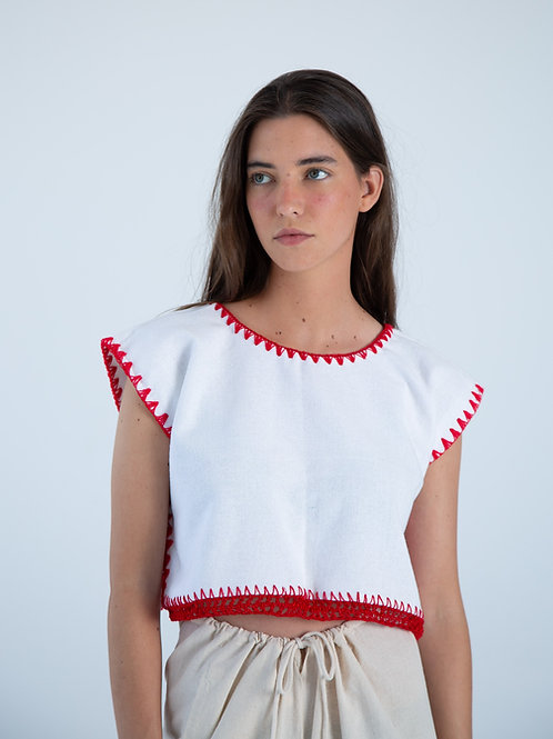 Martina Top - White and Red
