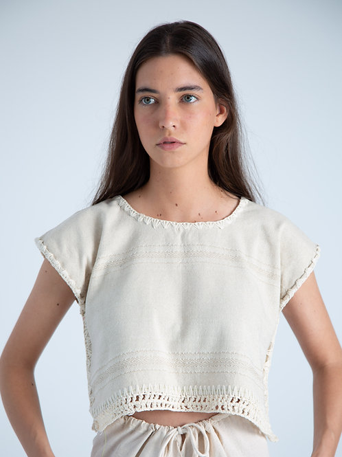 Martina Top - White with Texture