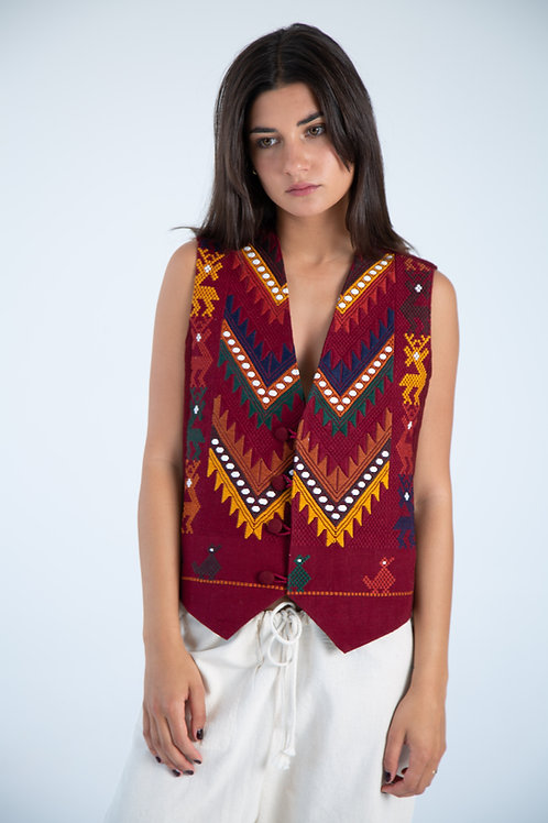 Mexican Vest - Red Wine