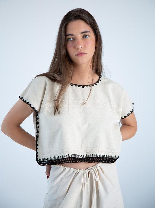 Martina Top - Plain White with black