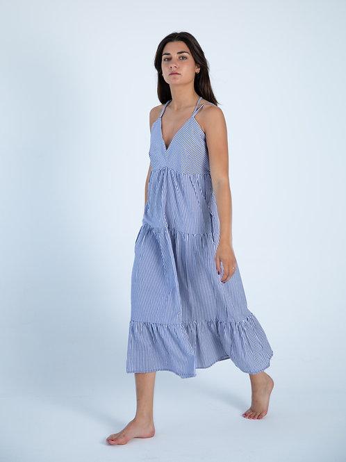 Julieta Dress - Blue Stripes