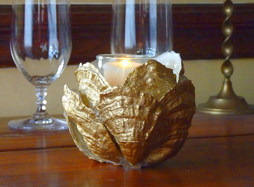 Gilded Oyster Shell Candleholder