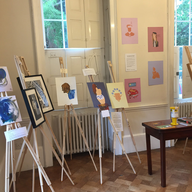The exhibition room at Bell House, Dulwich