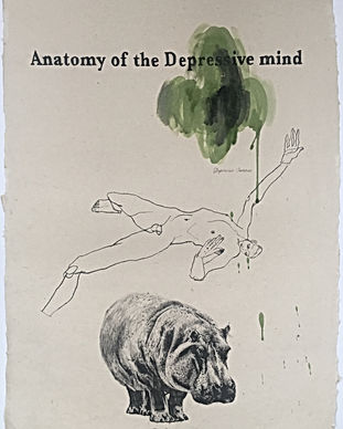 Anatmyof the Depressive mind, witha figure lying prostrate and naked above a sketch of a hippo