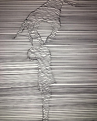 A sketch image comprised of many horizontal lines forming the image of a figure being held by its nape by a hand