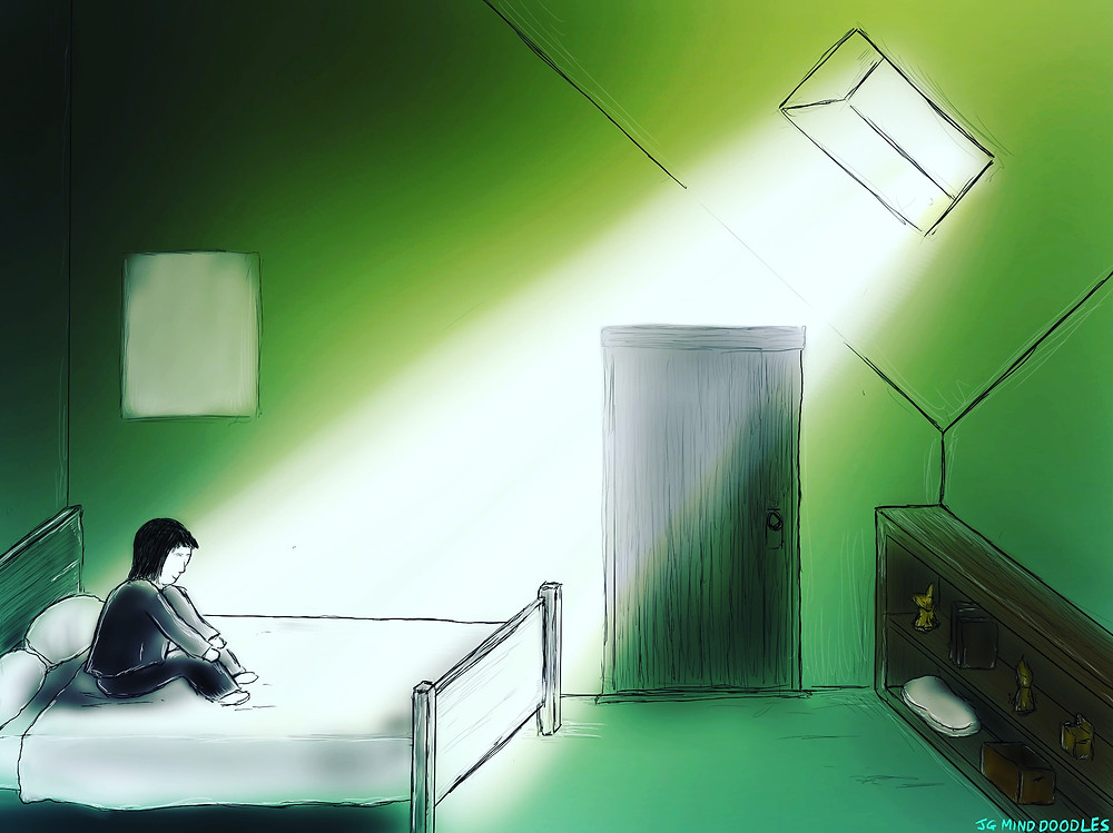 Anxious, depressed figure sits on bed bathed in light from a window