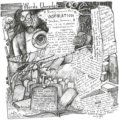 Image shows a sketch of a man, gravestones, and various pieces of note paper.