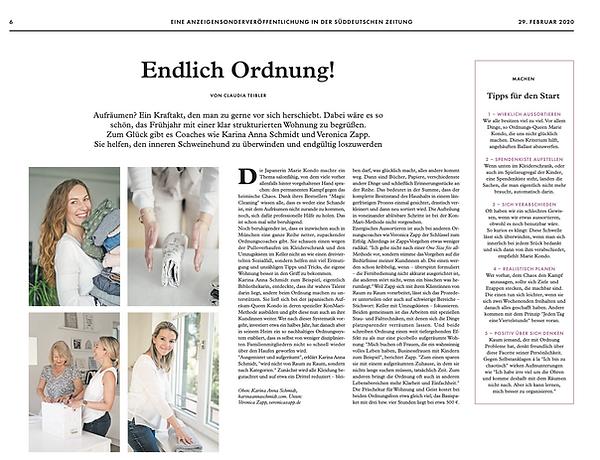 Endlich Ordnung - Süddeutsche Zeitung 29.02.2020
