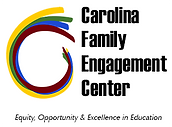 Carolina Family Engagement Center Logo with a yellow, green, bluee and garnett swirl to the left.