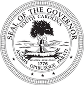 Seal of the South Carolina Governor's Office that includes a palm tree with Animis Opibusque Parati written in latin.