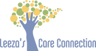 Leeza's Care Connection Logo written in blue with a hand reaching up with green and yellow dots forming a tree shape.