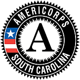 Americorps South Carolina black and white circular logo with red white and blue on the left side with a star.