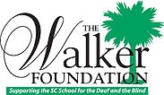 "The Walker Foundation Logo with a palm tree in green on the right with black lettering. Beneath the logo says ""Supporting the SC School for the Deaf and the Blind""."