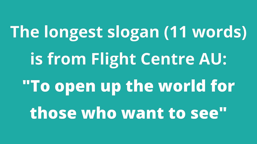 """The longest slogan (11 words) is from Flight Centre AU: """"To open up the world for those who want to see"""""""