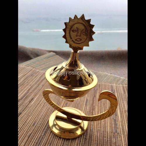 Brass Incense Cone Burner - Sun