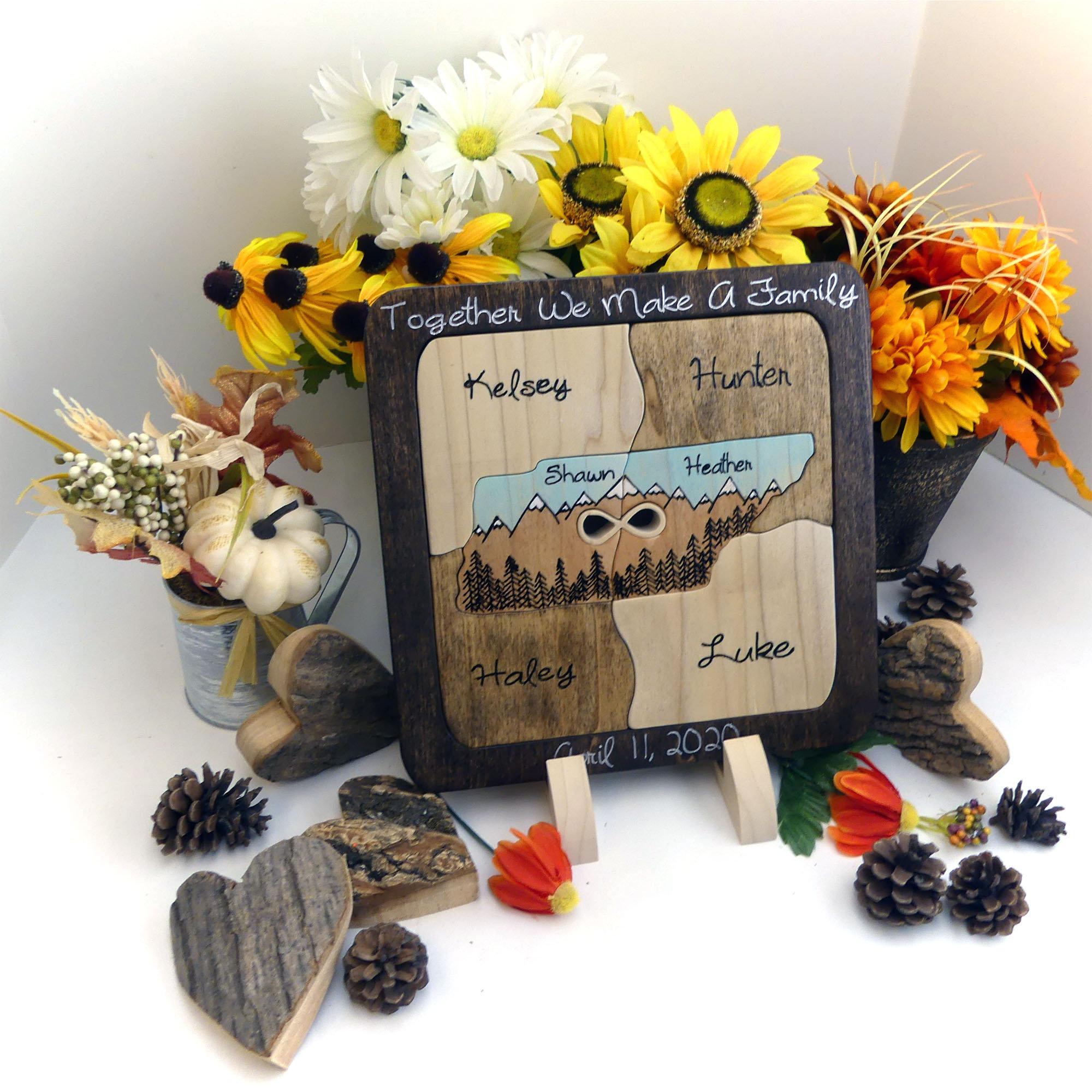 Custom Designed Unity Puzzle \u00ae Unity Ceremony Alt Blended Family Wedding Gift Alternative Unity Puzzle Ceremony Fathers Mother/'s Day Gift