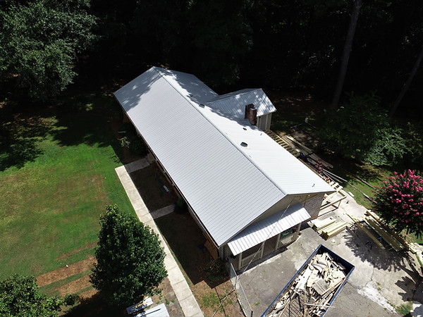 Aerial Views of a New Metal Roof