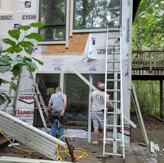Setting up to install James Hardie Cement Siding