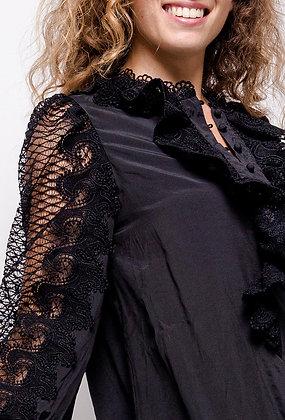Black Delicate Ruffle Shirt