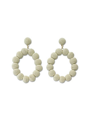 Ivory Oval Ball Earrings