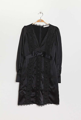 Black Satin & Lace Dress