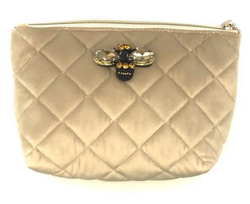 Quilted Velvet Make Up Bag - Oyster