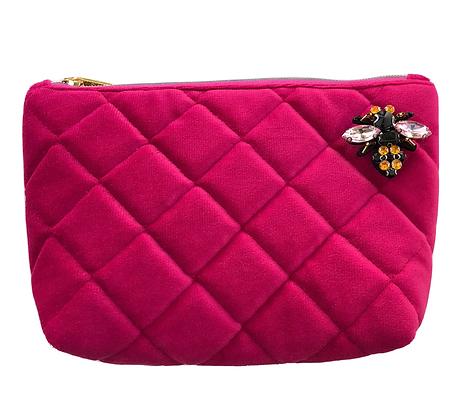 Quilted Velvet Make Up Bag - Fuschia