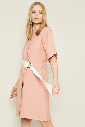 Native Youth - Stand Collar Shift Dress with Contrast Belt