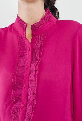 Fuschia Frill Sleeve Blouse