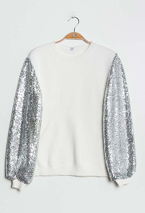 White Jumper with Sequin Sleeves