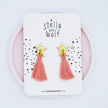 Gold Star Tassel Earrings