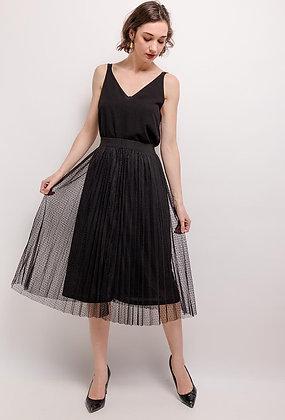 Black Midi Spot Tulle Skirt