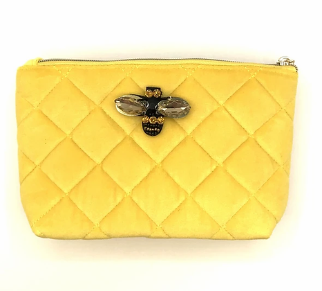 Quilted Velvet Make Up Bag - Yellow