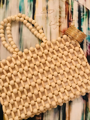 Cream Wooden Beaded Bag