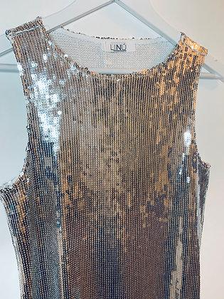 Silver Sequin Flapper Style Midi Dress
