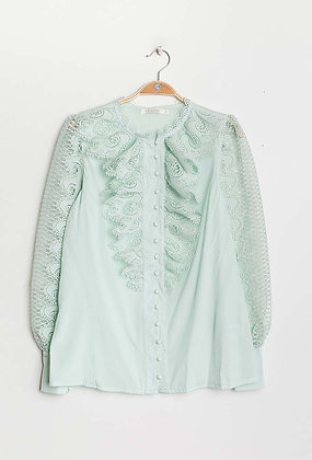 Wasabi Green Delicate Ruffle shirt