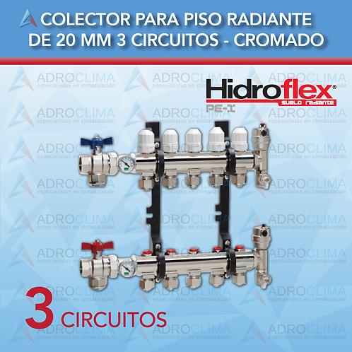 Colector completo de 3 Circuitos Hidroflex Luxus Cromo