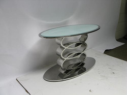 Oval White Glass Coffee Table B